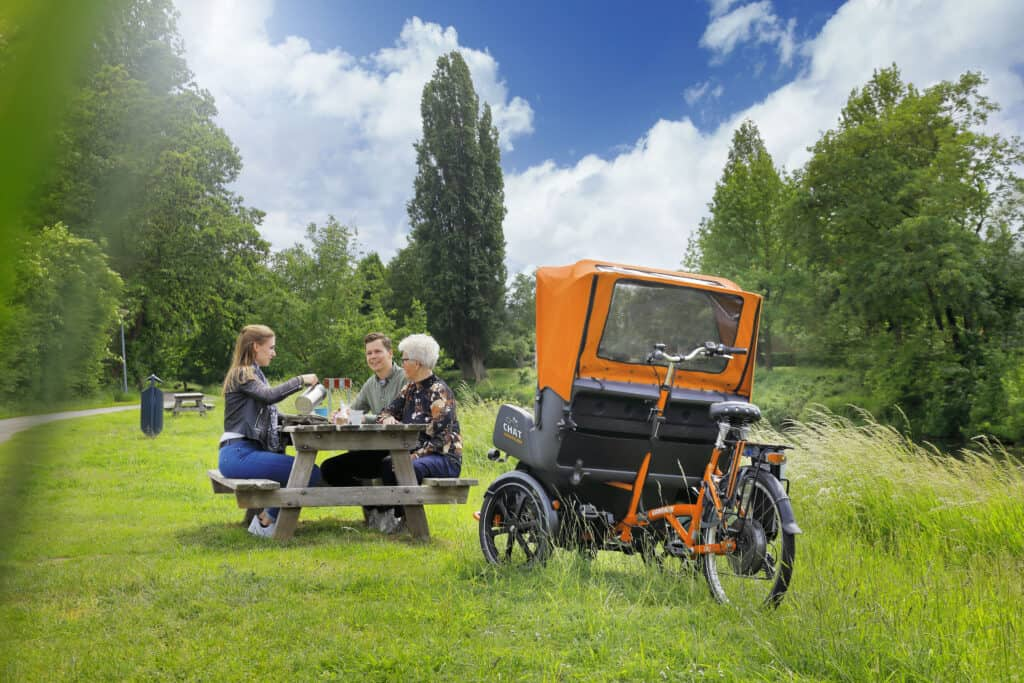riksja transportfiets Chat picknicken